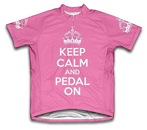 Keep Calm and Ride On Microfiber Short-Sleeved Ladies' Cycling Jersey, Pink, 2XL