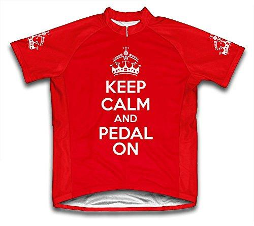 Keep Calm and Ride On Microfiber Short-Sleeved Cycling Jersey, Red, L