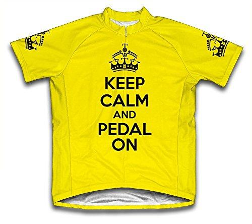 Keep Calm and Ride On Microfiber Short-Sleeved Cycling Jersey, Yellow, M