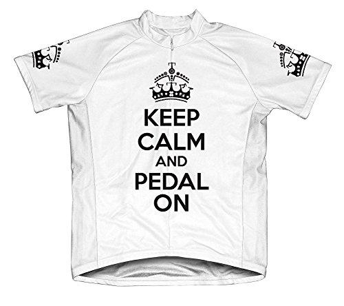 Keep Calm and Ride On Microfiber Short-Sleeved Cycling Jersey, White, XL