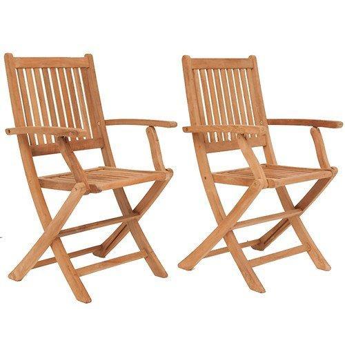 London 2 Piece Teak Folding Armchair Set