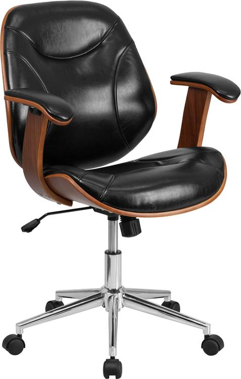 Mid-Back Leather Executive Wood Swivel Chair