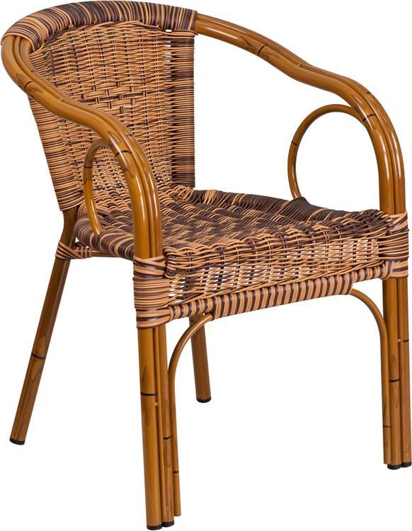 Cadiz Series Burning Brown Rattan Restaurant Patio Chair with Dark Red Bamboo-Aluminum Frame
