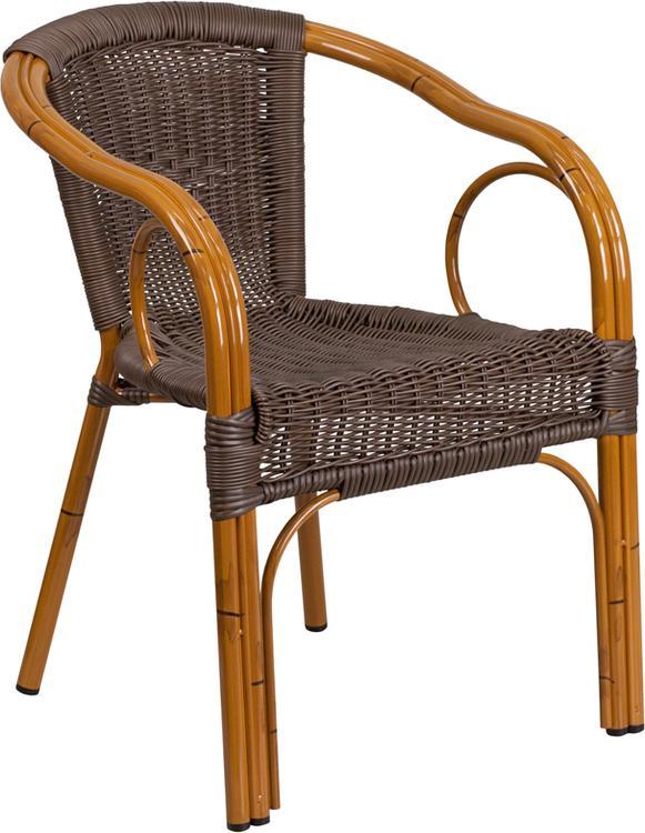 Cadiz Series Dark Brown Rattan Restaurant Patio Chair with Red Bamboo-Aluminum Frame