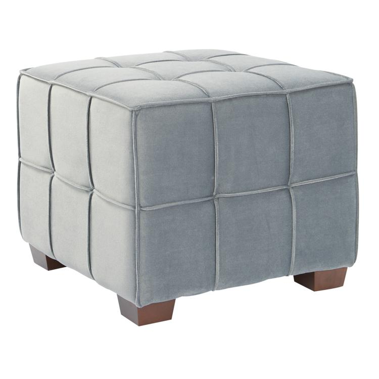 Sheldon Tufted Ottoman In Fabric With Finished Wooden Legs