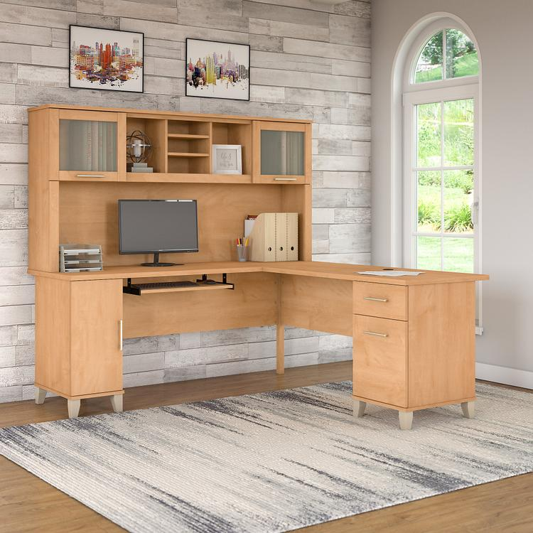 Bush Furniture Somerset 72 L Shaped Desk with Hutch
