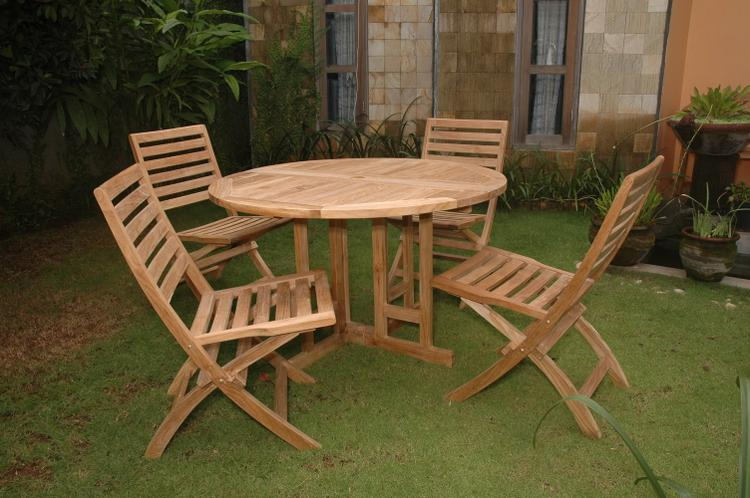 Anderson Teak Andrew Butterfly Folding 5-Pieces Dining Set