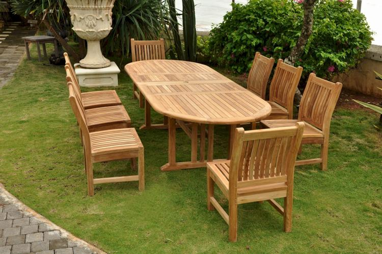 Anderson Teak Sahara Dining Side Chair 9-Pieces Oval Dining Set [Item # Set-76]
