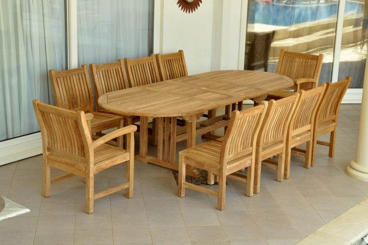 Anderson Teak Sahara Dining Side Chair 11-Pieces Oval Dining Set