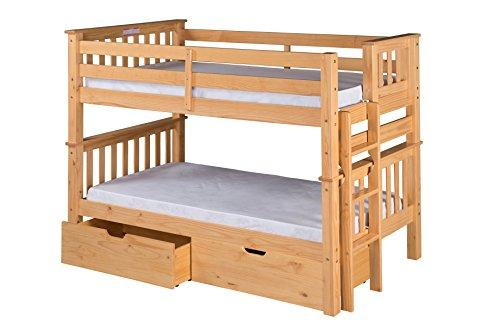 Santa Fe Mission Low Bunk Bed Twin over Twin - Bed End Ladder- with Under Bed Drawers