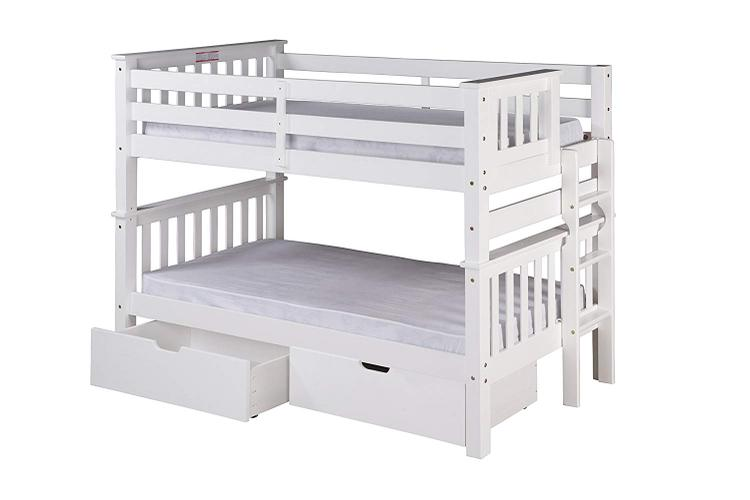 Santa Fe Mission Low Bunk Bed Twin over Twin - Bed End Ladder - with Under Bed Drawers