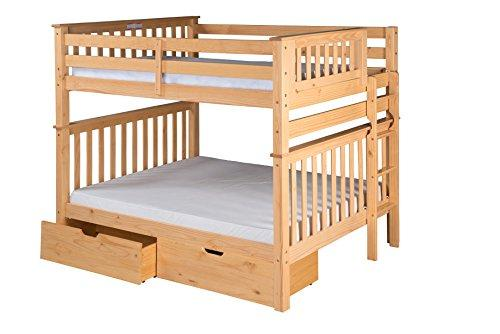 Santa Fe Mission Tall Bunk Bed Full over Full - Bed End Ladder- with Under Bed Drawers