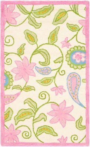 Kids Rug - Safavieh Kids Wool/Viscose Pile -Ivory/Pink