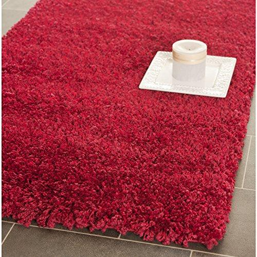 Shag & Flokati Rug - Shag Polypropylene Pile/Weight Is 3700Gr/M2/Pile Height 5Cm/Backing Is Jute/Polyester / Cotton -Red