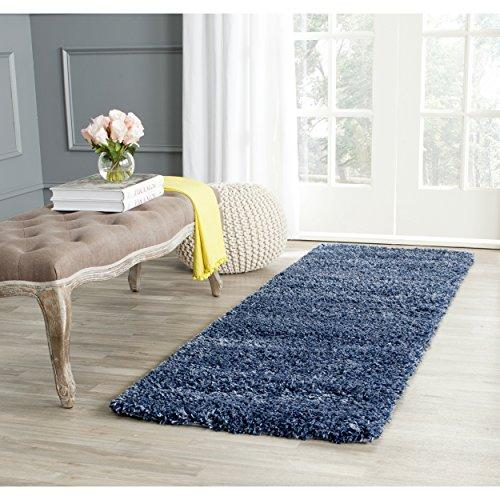 Shag & Flokati Rug - Shag Polypropylene Pile/Weight Is 3700Gr/M2/Pile Height 5Cm/Backing Is Jute/Polyester / Cotton -Navy