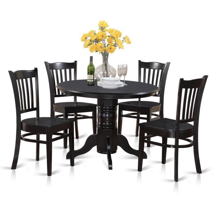 East West Furniture 3-Piece Kitchen Table Set [Item # SHGR5-BLK-W]