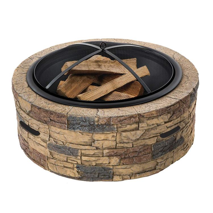 Sun Joe SJFP35-STN Cast Stone Fire Pit | 35 inch (Natural Stone)