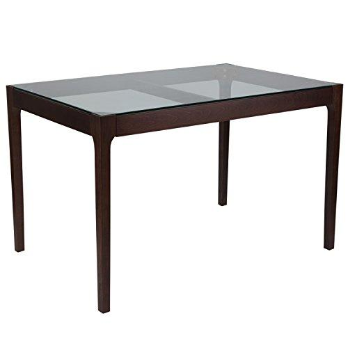 Everett 31.5'' x 47.5'' Solid Espresso Wood Table with Clear Glass Top and Exposed Industrial Hardware