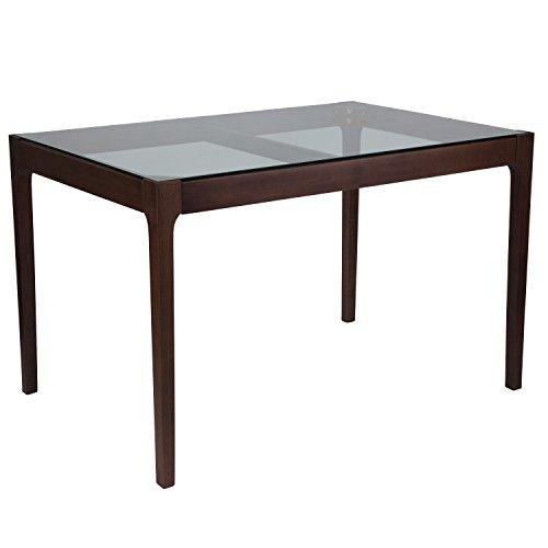 Everett 31.5'' x 47.5'' Solid Walnut Wood Table with Clear Glass Top and Exposed Industrial Hardware