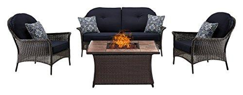 Hanover SMAR4PCFP-NVY-TN San Marino 4-Piece Seating Set with TanTile Top Fire Pit