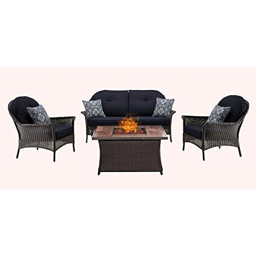 Hanover SMAR4PCFP-NVY-WG San Marino 4-Piece Seating Set with Wood Grain Tile Top Fire Pit