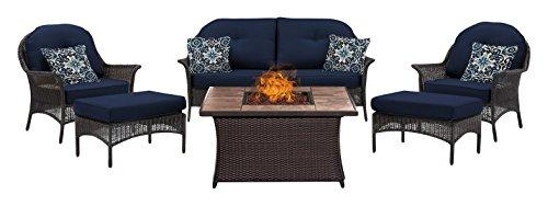 Hanover SMAR6PCFP-NVY-TN San Marino 6-Piece Seating Set with Tan Tile Top Fire Pit [Item # SMAR6PCFP-NVY-TN]