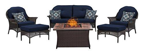 Hanover SMAR6PCFP-NVY-WG San Marino 6-Piece Seating Set with Wood Grain Tile Top Fire Pit [Item # SMAR6PCFP-NVY-WG]