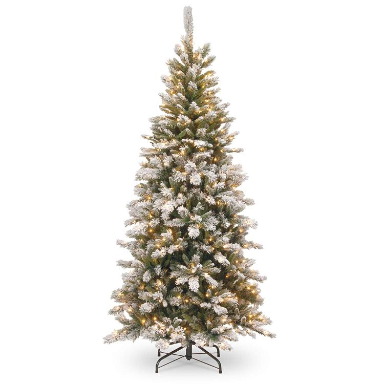 National Tree Snowy Mountain Pine Slim Pine Tree with Clear Lights