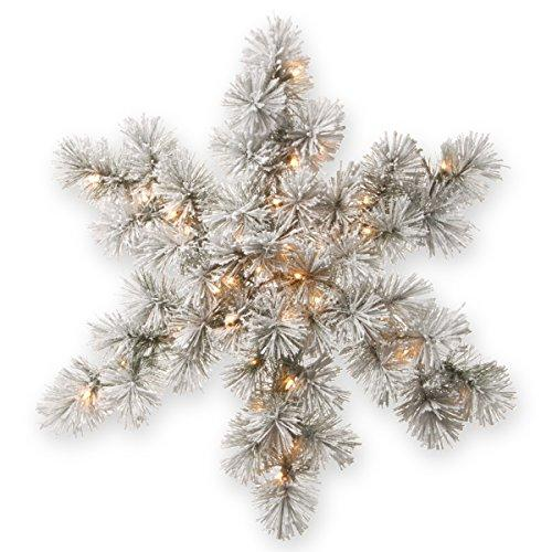 National Tree Snowy Bristle Pine Snowflake with Battery Operated Warm White LED Lights