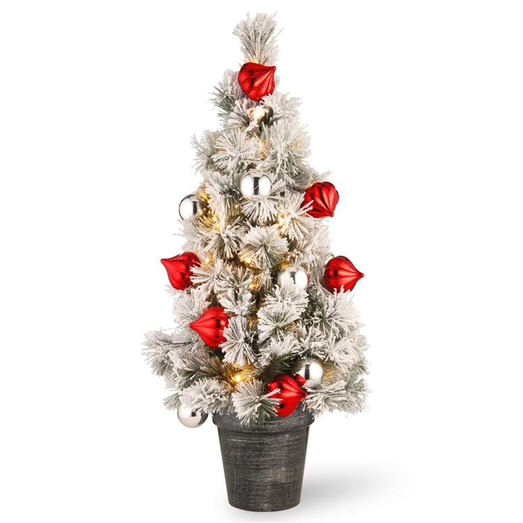 National Tree Snowy Bristle Pine Tabletop Tree with Battery Operated LED Lights [Item # SNP7-308-30-B]
