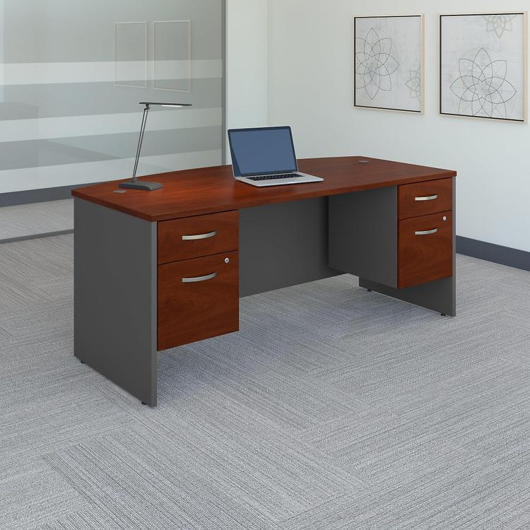 Series C Bow Front Desk With 3/4 Pedestals