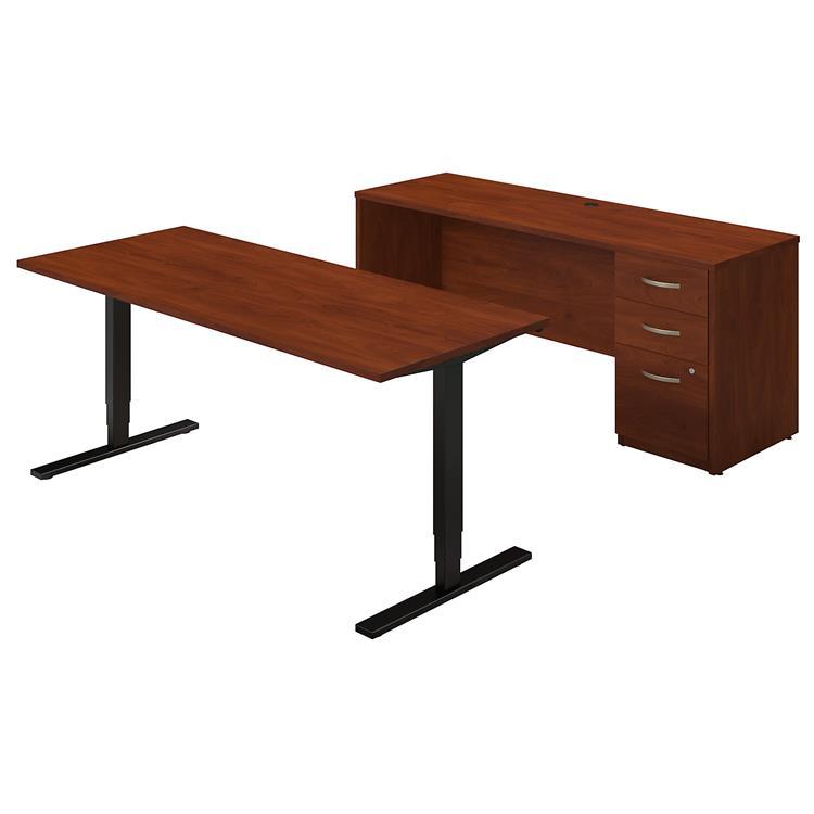 Series C Elite 72W Height Adjustable Standing Desk With Credenza