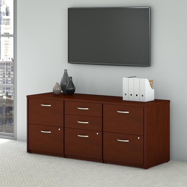 Bush Furniture Series C Elite Storage Credenza in Hansen Cherry