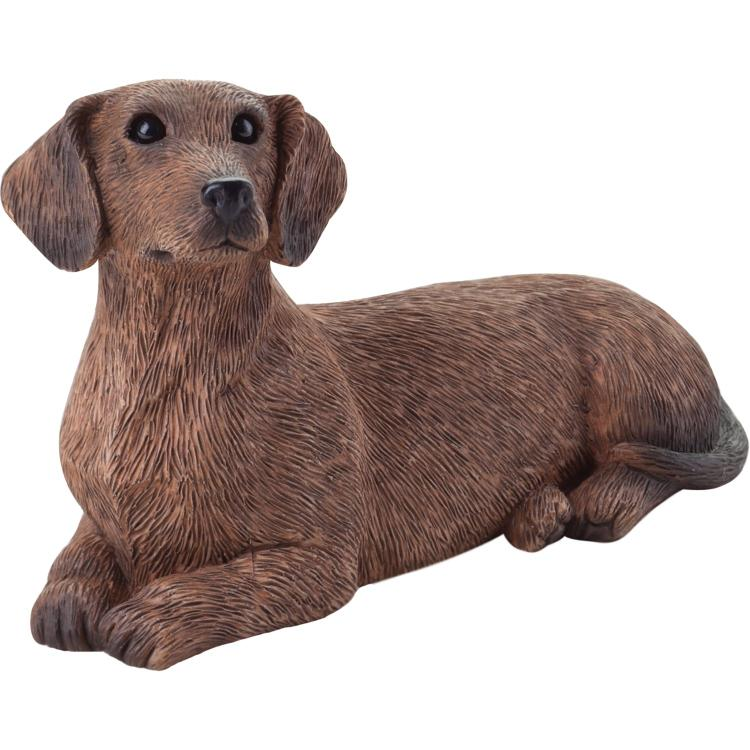 Sandicast Small Size Red Dachshund Sculpture - Lying