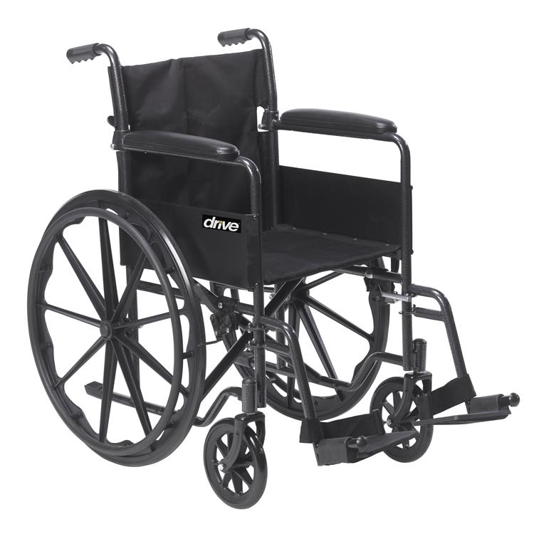 Drive Medical Silver Sport 1 Wheelchair with Full Arms and Swing away Removable Footrest [Item # SSP118FA-SF]