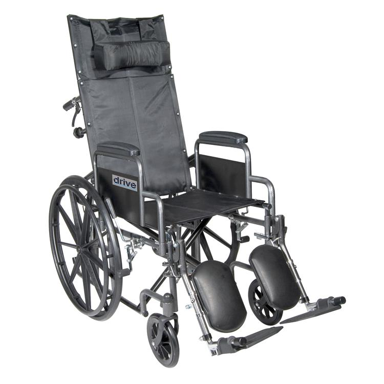 Drive Medical Silver Sport Reclining Wheelchair with Elevating Leg Rests