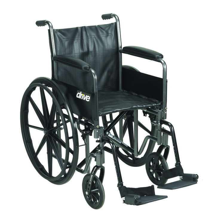 Silver Sport 2 Wheelchair, Detachable Full Arms, Swing away Footrests, 18