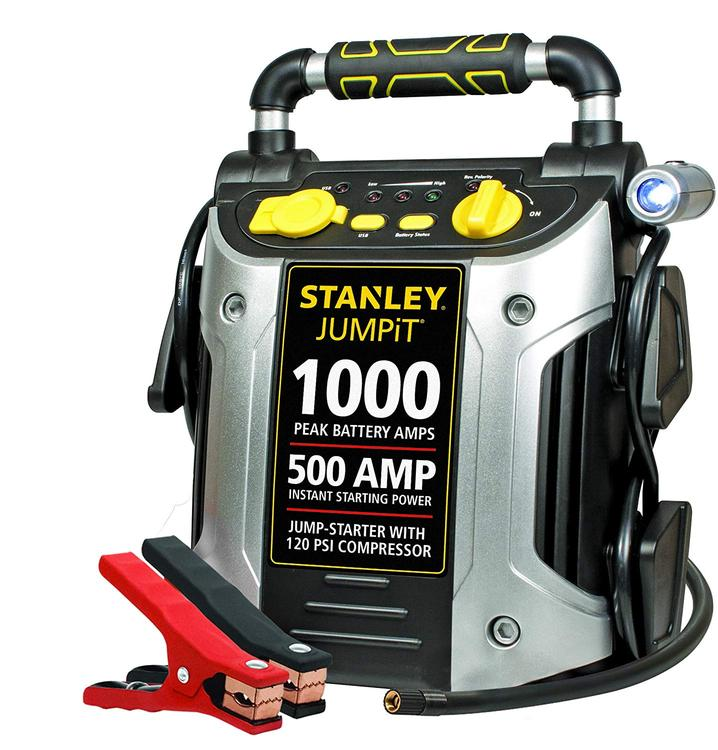 STANLEY Power Station Jump Starter: 1000 Peak/500 Instant Amps, 120 PSI Air Compressor, Battery Clamps
