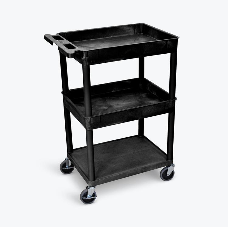 Luxor Top/Middle Tub and Flat Bottom Shelf Cart