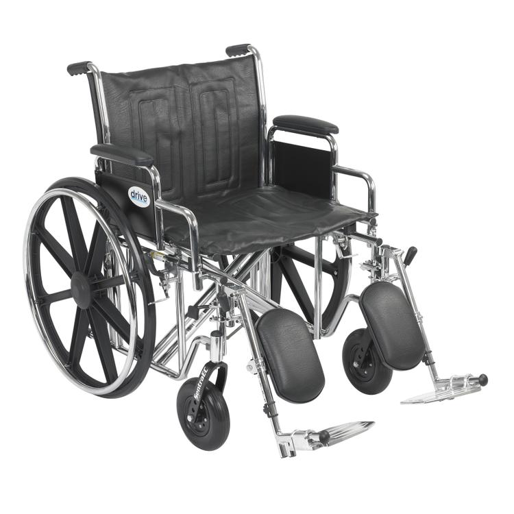 Sentra EC Heavy Duty Wheelchair, Detachable Full Arms, Swing away Footrests, 24
