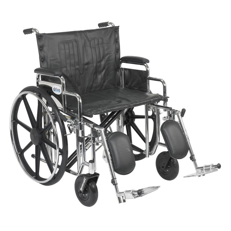 Sentra Extra Heavy Duty Wheelchair, Detachable Full Arms, Swing away Footrests, 24