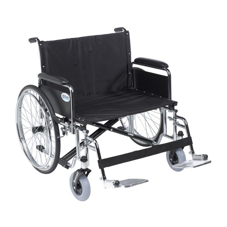 Sentra EC Heavy Duty Extra Wide Wheelchair, Detachable Full Arms, Swing away Footrests, 28