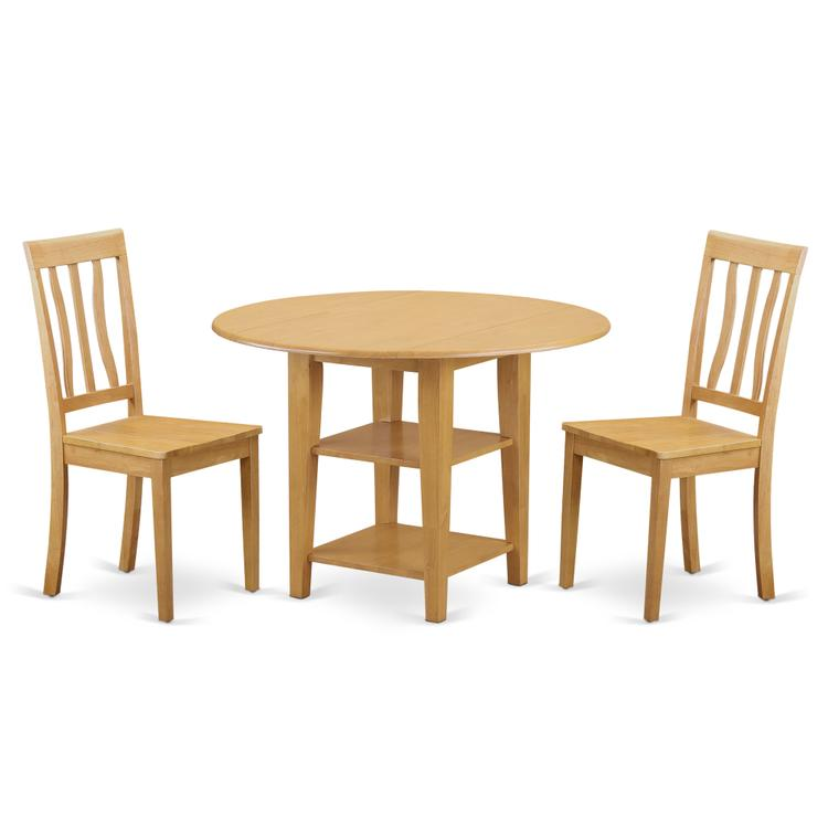 East West Furniture SUAN3-OAK-W 3 Piece Sudbury Set With One Round Dinette Table And Two Dinette Chairs With Wood Seat In A warm Oak Finish.