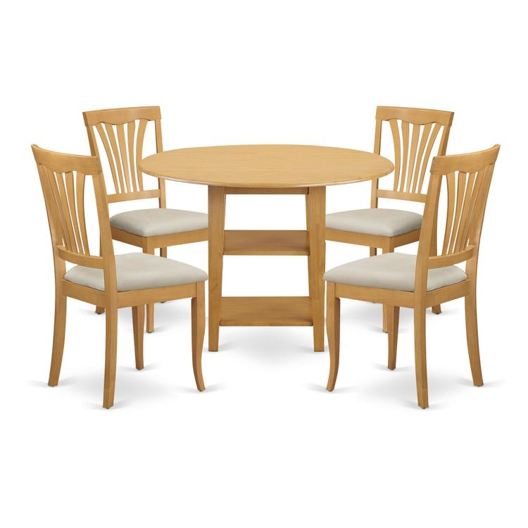East West Furniture SUAV5-OAK-C 5 Piece Sudbury Set With One Round Dinette Table And 4 Dinette Chairs With Cushion Seat In A warm Oak Finish.