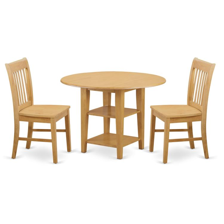 East West Furniture SUNO3-OAK-W 3 Piece Sudbury Set With One Round Dinette Table And 2 Dinette Chairs With Wood Seat In A Warm Oak Finish. [Item # SUNO3-OAK-W]