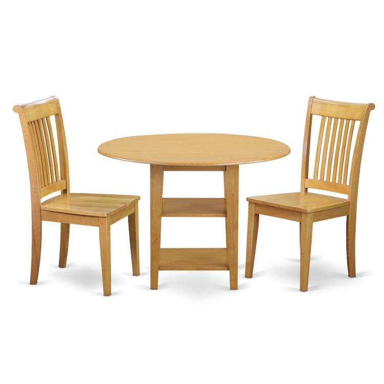 East West Furniture SUPO3-OAK-W 3 Piece Sudbury Set With One Round Dinette Table And 2 Slat Back Dinette Chairs With Wood Seat In A Golden Oak Finish.