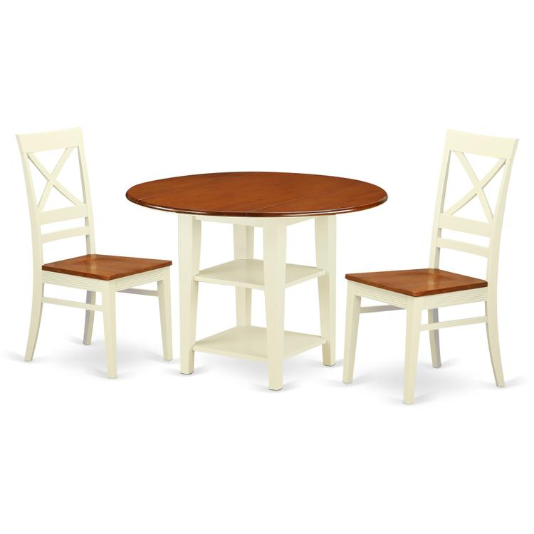 East West Furniture SUQU3-BMK-W 3 Piece Sudbury Set With One Round Dinette Table And 2 X Back Dinette Chairs With Wood Seat In A Elegant Buttermilk and Cherry Finish. [Item # SUQU3-BMK-W]