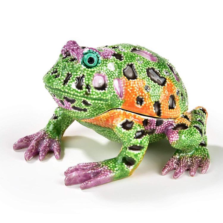KALIFANO Decorative Green and Purple Frog Jewelry/Keepsake Box with Swarovski Element Crystals for Storage and Organization - Handmade Magnetic Trinket Box