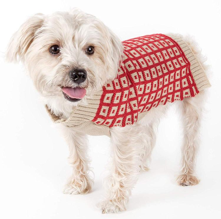 Butterscotch Box Weaved Heavy Cable Knitted Designer Turtle Neck Dog Sweater