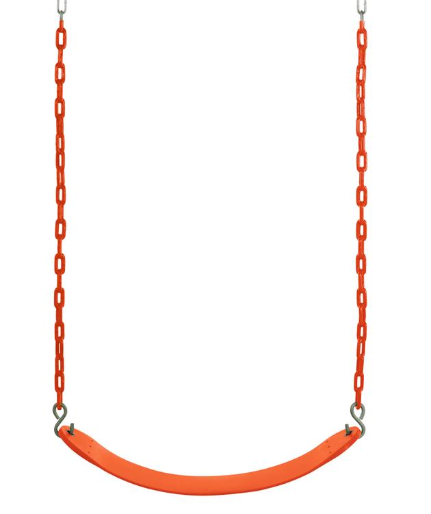 Swingan - Belt Swing For All Ages - Vinyl Coated Chain - Orange